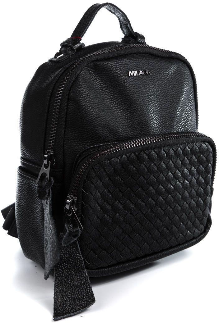 Рюкзак женский Milana, цвет: черный. 162788-1-110RivaCase 8460 blackСтильный женский рюкзак Milana идеально подойдет под ваш образ. Он выполнен из качественной искусственной кожи. На лицевой стороне расположен удобный карман, закрывающийся на молнию. Задняя стенка рюкзака имеет втачной карман на молнии. Внутри расположено главное отделение, которое состоит из одного кармана на молнии и открытого кармана. Рюкзак оснащен широкими лямками, длина которых регулируется с помощью пряжек, и дополнен верхней петлей для подвешивания.Такой модный и удобный рюкзак станет незаменимым аксессуаром в вашем гардеробе.