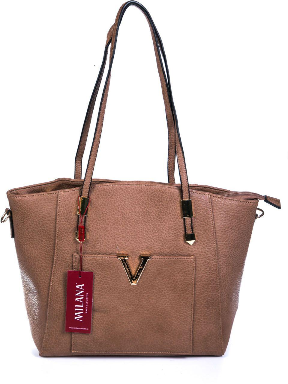 Сумка женская Milana, цвет: темно-бежевый. 162790-1-112KV996OPY/MУдобная женская сумка Milana изготовлена из искусственной кожи. Внутренняя подкладка выполнена из искусственного шелка. Сумка закрывается на застежку молнию. Модель оснащена небольшим вкладышем для мелочей. Внутри имеется одно основное отделение, которое дополнено одним втачным карманом на молнии и двумя накладными открытыми кармашками. Передняя боковая стенка оформлена накладным карманом с металлической вставкой в виде буквы V. Модель оснащена ручками на запястье и съемным плечевым ремешком.Оригинальный аксессуар позволит вам завершить образ и быть неотразимой.