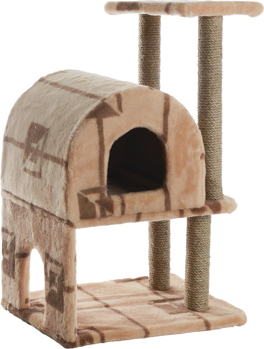 Домик-когтеточка Меридиан, полукруглый, двухэтажный, с полкой, цвет: бежевый, коричневый, 55 х 40 х 85 см0120710Домик-когтеточка Меридиан выполнен из высококачественного ДВП и ДСП и обтянут искусственным мехом. Изделие предназначено для кошек. Ваш домашний питомец будет с удовольствием точить когти о специальные столбики, изготовленные из джута. А отдохнуть он сможет либо на полке, либо в домике. Домик-когтеточка Меридиан принесет пользу не только вашему питомцу, но и вам, так как он сохранит мебель от когтей и шерсти.Общий размер: 55 х 40 х 85 см.Размер нижнего домика: 40 х 40 х 33 см.Размер полки: 40 х 25 см.