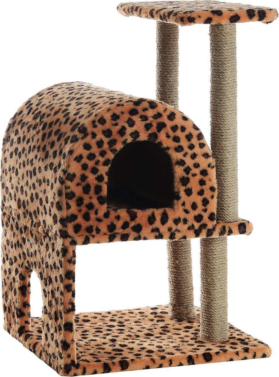 Домик-когтеточка Меридиан, полукруглый, двухэтажный, с полкой, цвет: коричневый, черный, бежевый, 55 х 40 х 85 см0120710Домик-когтеточка Меридиан выполнен из высококачественного ДВП и ДСП и обтянут искусственным мехом. Изделие предназначено для кошек. Ваш домашний питомец будет с удовольствием точить когти о специальные столбики, изготовленные из джута. А отдохнуть он сможет либо на полке, либо в домике. Домик-когтеточка Меридиан принесет пользу не только вашему питомцу, но и вам, так как он сохранит мебель от когтей и шерсти.Общий размер: 55 х 40 х 85 см.Размер нижнего домика: 40 х 40 х 33 см.Размер полки: 40 х 25 см.