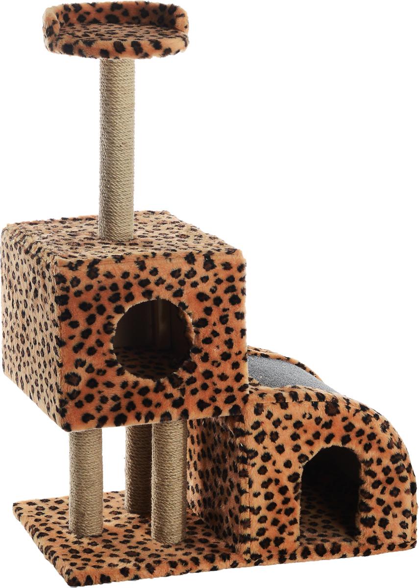 Домик-когтеточка Меридиан, двухуровневый, цвет: коричневый, черный, бежевый, 71 х 36 х 110 смД341ЛеДомик-когтеточка Меридиан выполнен из высококачественного ДВП и ДСП и обтянут искусственным мехом. Изделие предназначено для кошек. Ваш домашний питомец будет с удовольствием точить когти о специальные столбики, изготовленные из джута или о горку из ковролина. А отдохнуть он сможет либо на полке, либо в домиках. Домик-когтеточка Меридиан принесет пользу не только вашему питомцу, но и вам, так как он сохранит мебель от когтей и шерсти.Общий размер: 71 х 36 х 110 см.Размер нижнего домика: 36 х 36 х 32 см.Размер верхнего домика: 36 х 36 х 31 см.Размер полки: 26 х 26 см.
