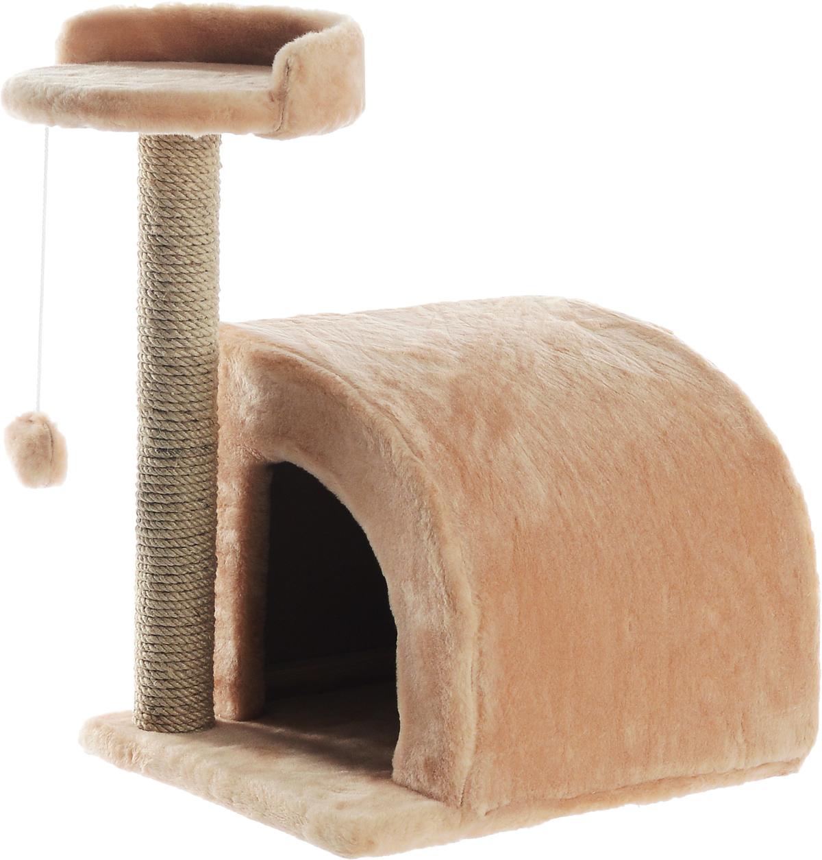 Домик-когтеточка Меридиан, полукруглый, цвет: светло-коричневый, бежевый, 54 х 40 х 59 см0120710Домик-когтеточка Меридиан выполнен из высококачественного ДВП и ДСП и обтянут искусственным мехом. Изделие предназначено для кошек. Ваш домашний питомец будет с удовольствием точить когти о специальный столбик, изготовленный из джута. А отдохнуть он сможет либо на полке, либо в домике. Изделие снабжено подвесной игрушкой. Домик-когтеточка Меридиан принесет пользу не только вашему питомцу, но и вам, так как он сохранит мебель от когтей и шерсти.Общий размер: 54 х 40 х 59 см.Размер домика: 36 х 36 х 32 см.Размер полки: 27 х 26 см.