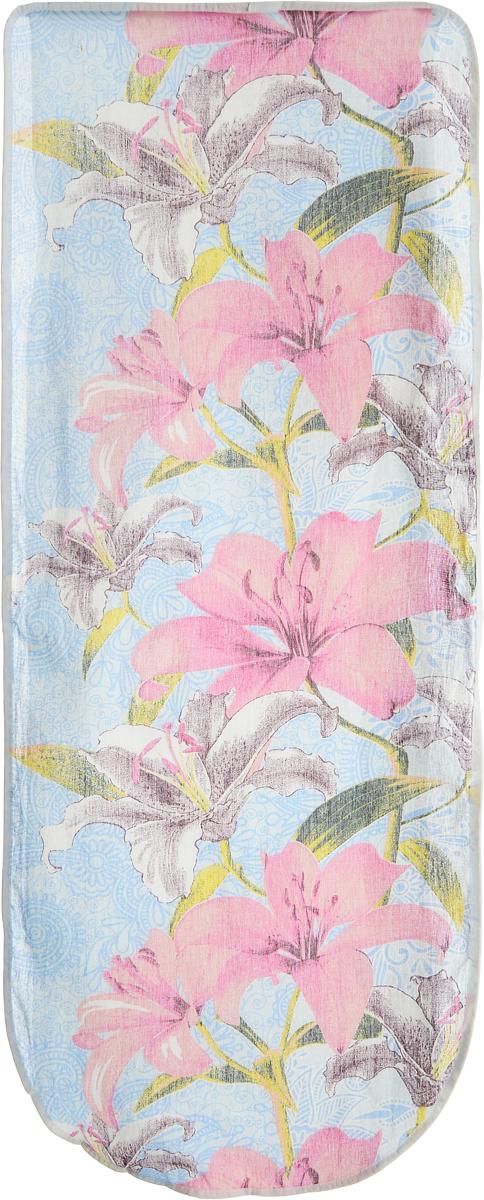 Чехол для гладильной доски Eva Лилии, цвет: голубой, розовый, 125 х 47 смЧП1_яблокоХлопчатобумажный чехол Eva Лилии для гладильной доски с поролоновым слоем продлит срок службы вашей гладильной доски. Чехол снабжен стягивающим шнуром, при помощи которого вы легко отрегулируете оптимальное натяжение чехла и зафиксируете его на рабочей поверхности гладильной доски.При выборе чехла учитывайте, что его размер должен быть больше размера покрытия доски минимум на 5 см. Рекомендуется заменять чехол не реже 1 раза в 3 года. Размер чехла: 125 х 47 см. Максимальный размер доски: 116 х 40 см.