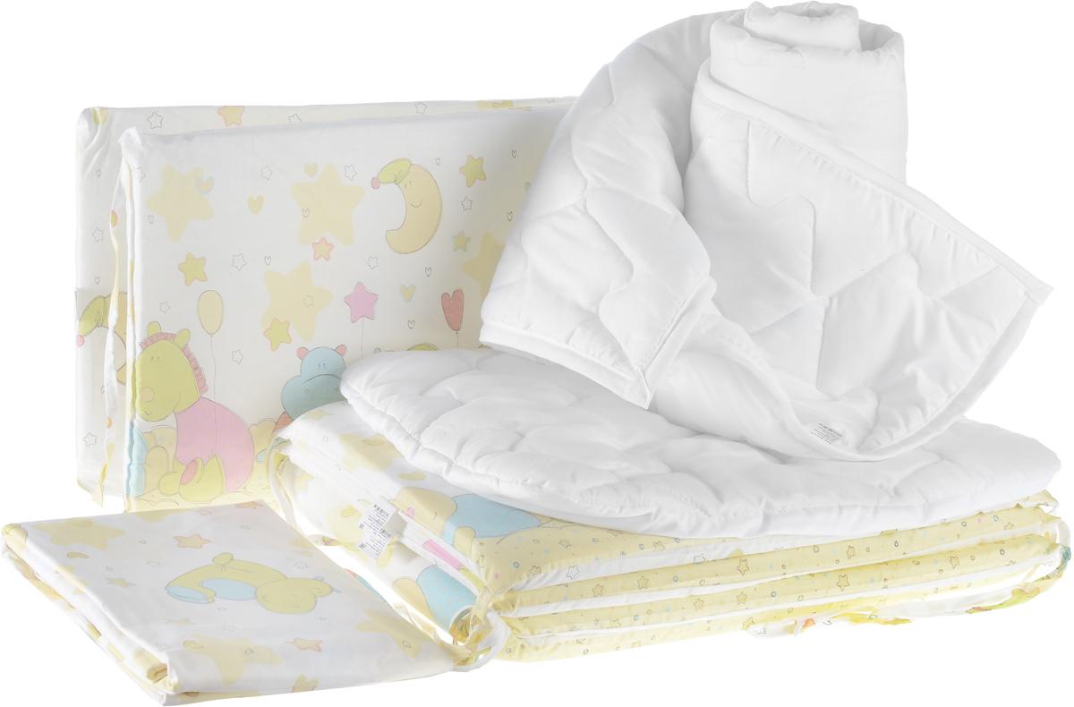 Baby Nice Комплект в кроватку Звездопад цвет желтый 9 предметовS03301004Комплект в кроватку - это превосходный подарок для родителей. Очаровательный постельный комплект выполнен в нежных цветах и украшен изображениями милых зверушек.Комплект в кроватку для самых маленьких изготовлен из самой качественной ткани, самой безопасной и гигиеничной, самой экологичной и гипоаллергенной. Отлично подходит для кроваток малышей, которые часто двигаются во сне. Хлопковое волокно прекрасно переносит стирку, быстро сохнет и не требует особого ухода, не линяет и не вытягивается. Ткань прошла специальную обработку по умягчению, что сделало её невероятно мягкой и приятной к телу. Комплект создаст дополнительный комфорт и уют ребенку. Родителям не составит особого труда ухаживать за комплектом. Он превосходно стирается, легко гладится. Ваш малыш будет в восторге от такого необыкновенного постельного набора! В комплект входит: одеяло, пододеяльник, подушка, наволочка, простынь на резинке, 4 бортика.