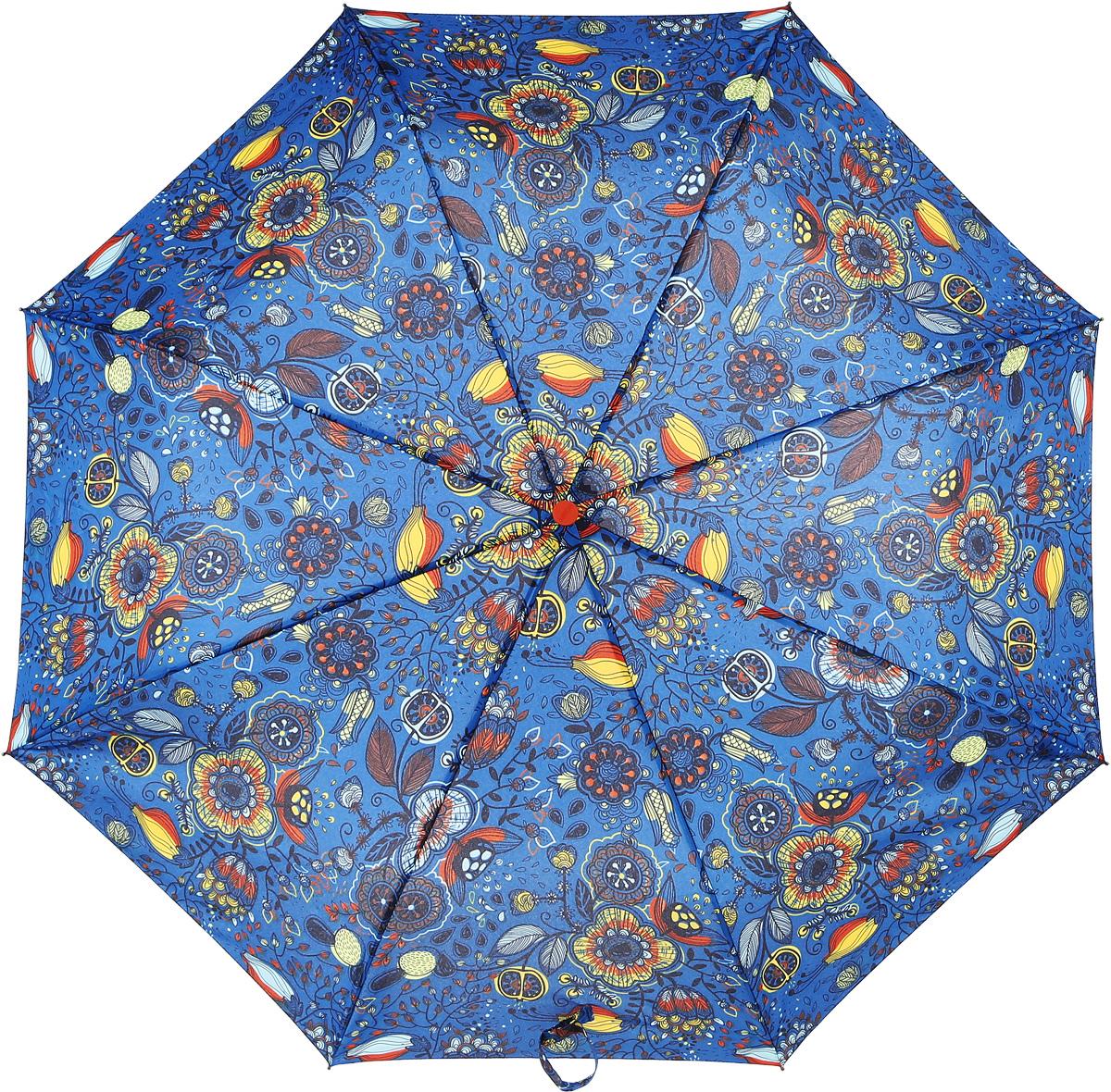 Зонт женский Airton, механический, 3 сложения, цвет: голубой, оранжевый. 3515-138Колье (короткие одноярусные бусы)Классический женский зонт Airton в 3 сложения имеет механическую систему открытия и закрытия.Каркас зонта выполнен из восьми спиц на прочном стержне. Купол зонта изготовлен из прочного полиэстера. Практичная рукоятка закругленной формы разработана с учетом требований эргономики и выполнена из качественного пластикас противоскользящей обработкой.Такой зонт оснащен системой антиветер, которая позволяет спицам при порывах ветрах выгибаться наизнанку, и при этом не ломаться. К зонту прилагается чехол.
