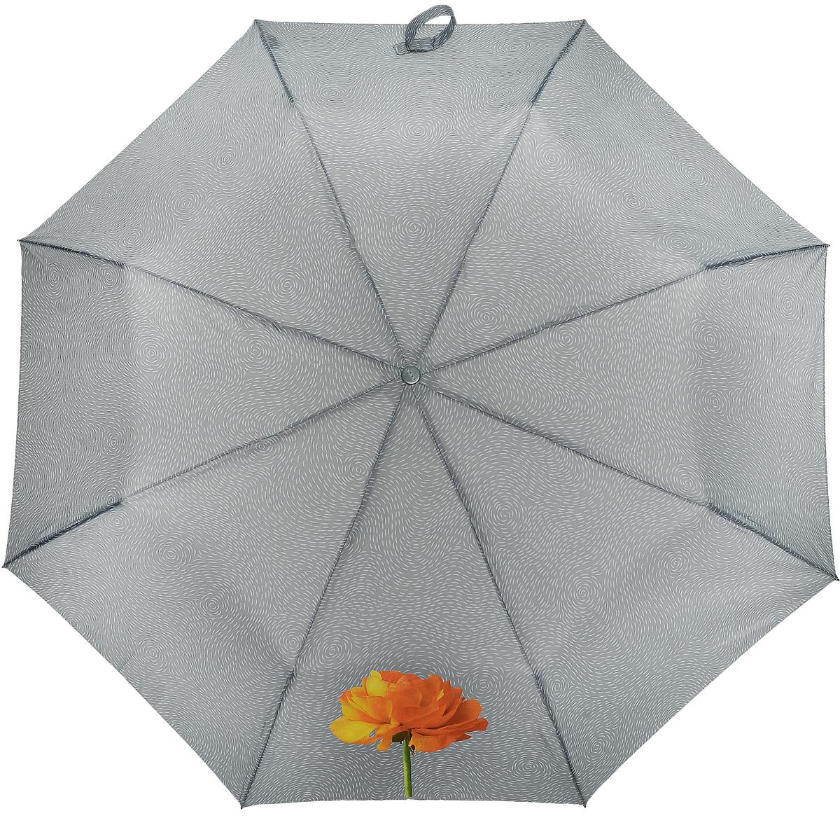Зонт женский Airton, механический, 3 сложения, цвет: серый, оранжевый. 3511-183Серьги с подвескамиКлассический женский зонт Airton в 3 сложения имеет механическую систему открытия и закрытия.Каркас зонта выполнен из восьми спиц на прочном стержне. Купол зонта изготовлен из прочного полиэстера. Практичная рукоятка закругленной формы разработана с учетом требований эргономики и выполнена из качественного пластика с противоскользящей обработкой.Такой зонт оснащен системой антиветер, которая позволяет спицам при порывах ветрах выгибаться наизнанку, и при этом не ломаться. К зонту прилагается чехол.