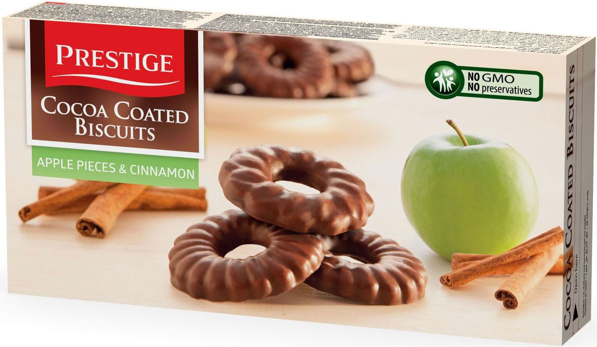 Prestige Печенье с яблоком и корицей в какао глазури, 175 г3.34.05Печенье Prestige с яблоком и корицей, покрытое какао глазурью, создано из простых и полезных ингредиентов. Насыщенный мягкий шоколадный вкус подарит массу удовольствия, сам шоколад в сочетании с печеньем зарядит энергией и бодростью с утра и на целый день.