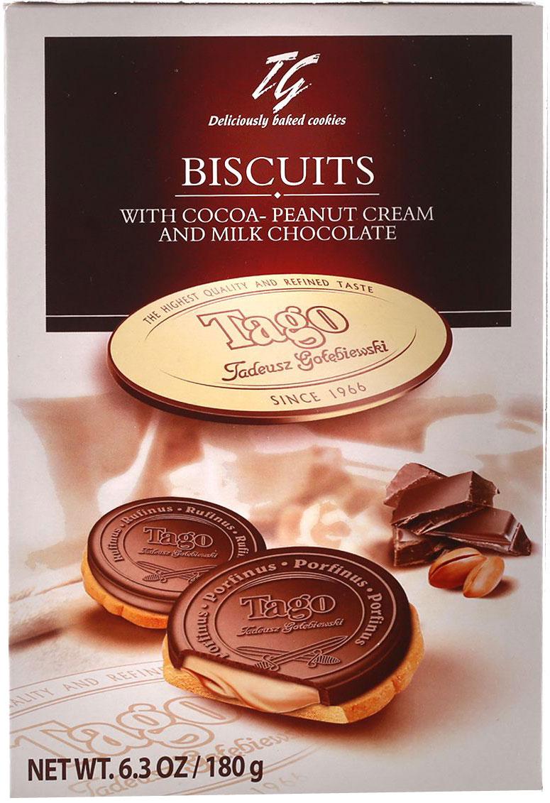 Tago Кардиналки какао-ореховые Печенье, 180 г0120710Печенье Кардиналки какао-ореховые не оставят равнодушными - начинка имеет нежный ореховый вкус и мягкую консистенцию.