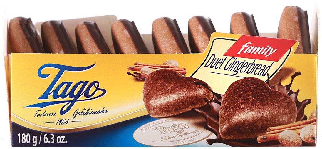 Tago Дуэт темный Пряники, 180 г0120710Пряники Дуэт темный - очень романтичный подарок. Сладкие печенья в форме сердечек из темного шоколада.