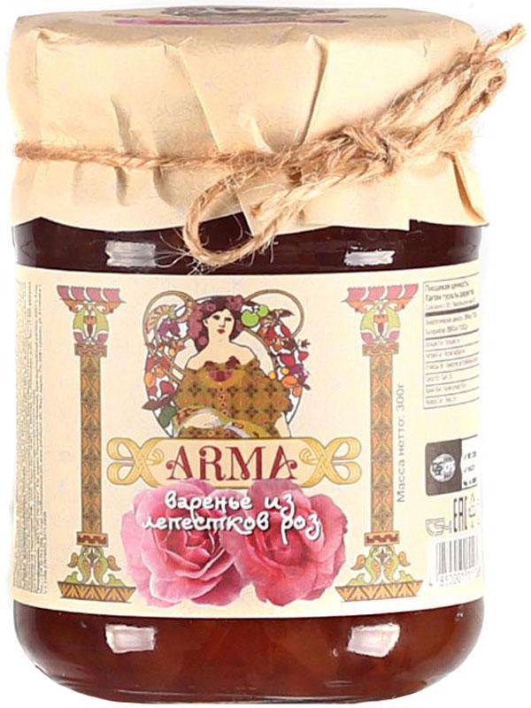 ARMA Варенье из лепестков роз, 300 г0120710Еще в древние времена лечебные свойства розы использовали в медицине и косметологии. Роза - без преувеличения кладезь полезных веществ. В лепестках розы содержатся витамины групп В, С и К, каротин, кальций, калий, медь. Много в розах железа, магния. Есть и селен, который способен активно бороться с процессами старения клеток, и цинк, который необходим для нормального роста волос и ногтей.Получается, что роза - настоящая аптека, которая способна излечить многие недуги. Безусловно, одним из самых вкусных продуктов из роз является варенье из лепестков. Варенье из лепестков роз полезно при авитаминозах и недостатке минеральных веществ, при гастритах и язве желудка. Розовое варенье нормализует работу пищеварительного тракта, устраняет явления дисбактериоза кишечника, очищает организм от шлаков.Розовое варенье - лучшее средство при простуде, гриппе, ангине и бронхите. Отлично повышает иммунитет и улучшает сон.
