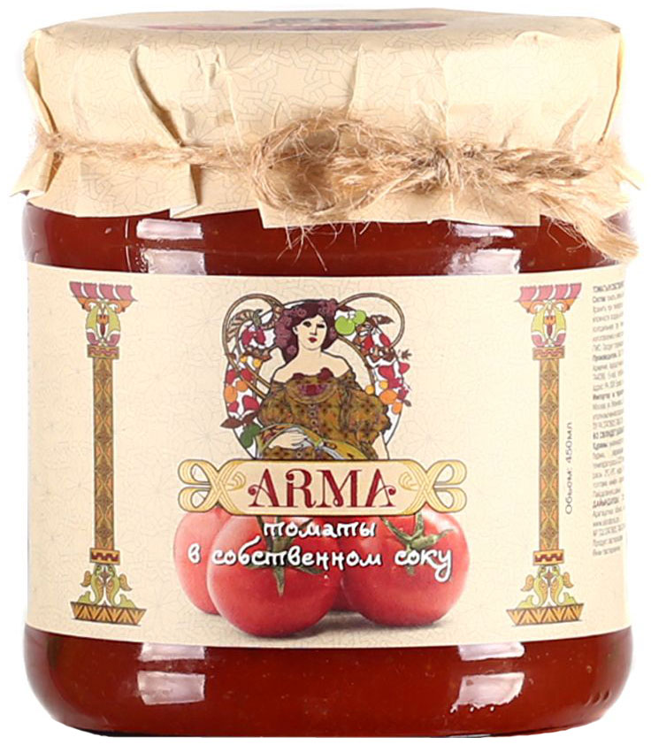 ARMA Томаты в собственном соку, 450 мл24Томаты черри неочищенные в собственном соку. Для того, чтобы сохранить вкус и аромат, помидоры черри выращиваются под южным солнцем и собираются в период созревания. Сразу же после сбора урожая помидоры перебирают вручную и консервируют в собственном соку.