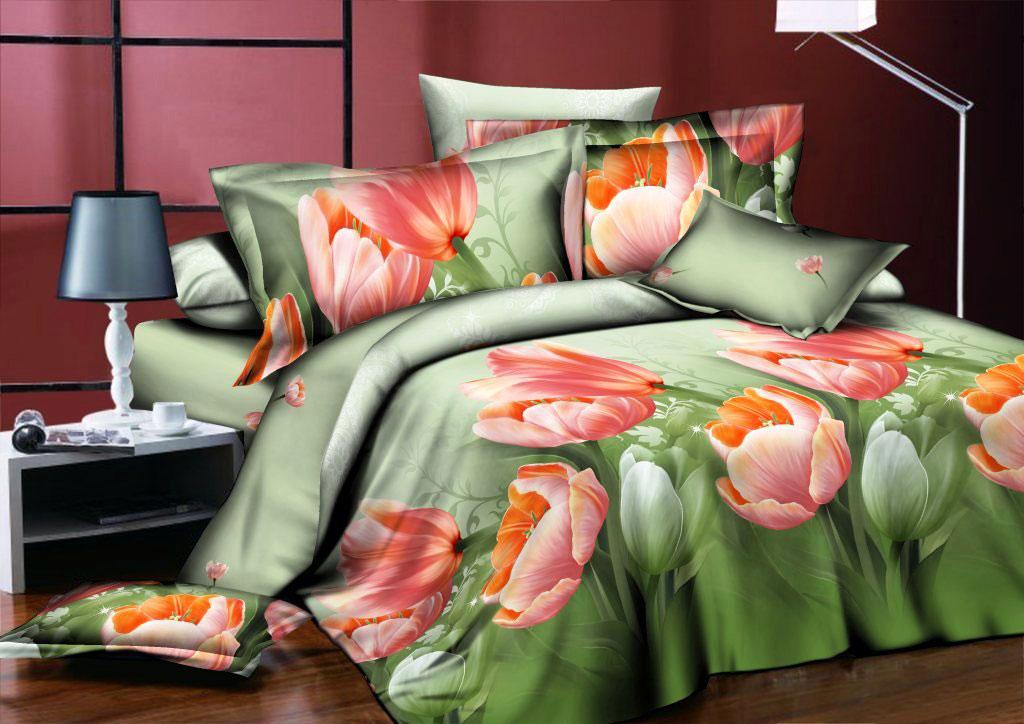 Комплект белья ROKO Тюльпаны, 1,5-спальный, наволочки 70х70, цвет: зеленый, персиковыйS03301004Комплект белья ROKO состоит из простыни, пододеяльника и двух наволочек. Для производства постельного белья используются экологичные ткани высочайшего качества.Поплин - это тонкая и легкая хлопчатобумажная ткань высокой плотности полотняного переплетения, сотканная из пряжи высоких номеров. При изготовлении поплина используются длинноволокнистые сорта хлопка, что обеспечивает высокие потребительские свойства материала. Несмотря на свою утонченность, поплин очень практичен - это одна из самых износостойких тканей для постельного белья.
