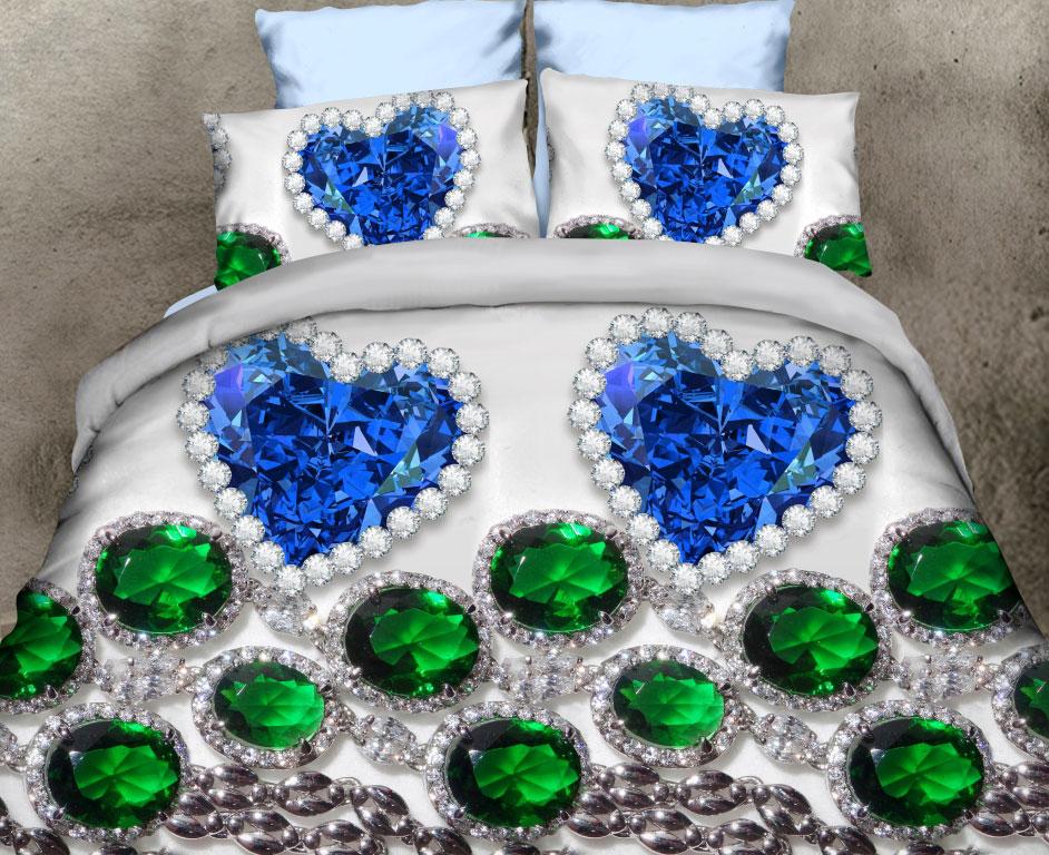 Комплект белья ROKO Изумруды, евро, наволочки 70х70, цвет: серый, синий, зеленый98299571Комплект белья ROKO состоит из простыни, пододеяльника и двух наволочек. Для производства постельного белья используются экологичные ткани высочайшего качества.Поплин - это тонкая и легкая хлопчатобумажная ткань высокой плотности полотняного переплетения, сотканная из пряжи высоких номеров. При изготовлении поплина используются длинноволокнистые сорта хлопка, что обеспечивает высокие потребительские свойства материала. Несмотря на свою утонченность, поплин очень практичен - это одна из самых износостойких тканей для постельного белья.