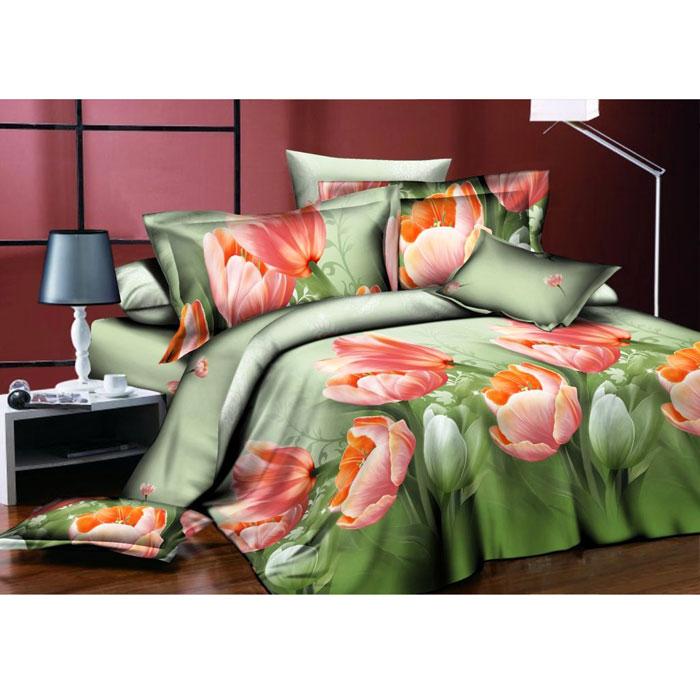 Комплект белья ROKO Тюльпаны, семейный, наволочки 70х70, цвет: зеленый, персиковый552110/47Комплект белья ROKO состоит из простыни, двух пододеяльников и двух наволочек. Для производства постельного белья используются экологичные ткани высочайшего качества.Поплин - это тонкая и легкая хлопчатобумажная ткань высокой плотности полотняного переплетения, сотканная из пряжи высоких номеров. При изготовлении поплина используются длинноволокнистые сорта хлопка, что обеспечивает высокие потребительские свойства материала. Несмотря на свою утонченность, поплин очень практичен - это одна из самых износостойких тканей для постельного белья.