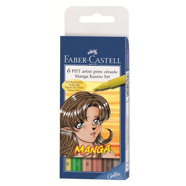 Faber-Castell Капиллярные ручки с кисточкой Manga Kaoiro 6 цветовFS-00103Одноразовые капиллярные ручки с кисточками Faber-Castell Manga Kaoiro станут незаменимым инструментом для начинающих и профессиональных художников. В набор входят 6 ручек разных цветов: светло-желтый, светло-персиковый, зеленый, персиковый, коричневый, светло-серый.Заостренные кончики ручек позволяют проводить тончайшие линии. Чернила не выцветают на свету, не стираются и не размываются водой, не имеют неприятного запаха и pH-нейтральны.Набор художественных капиллярных ручек с кисточками - это практичный и современный художественный инструмент, который поможет вам в создании самых выразительных произведений.