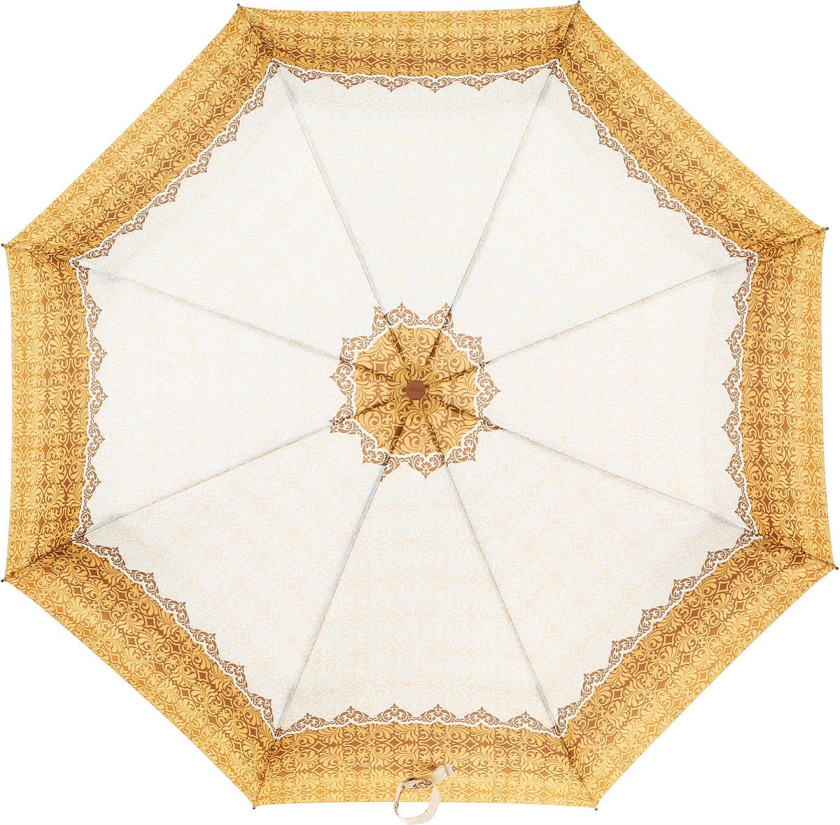 Зонт женский Airton, механический, 3 сложения, цвет: оранжевый, слоновая кость. 3515-1508B035000M/18075/3900NКлассический женский зонт Airton в 3 сложения имеет механическую систему открытия и закрытия.Каркас зонта выполнен из восьми спиц на прочном стержне. Купол зонта изготовлен из прочного полиэстера. Практичная рукоятка закругленной формы разработана с учетом требований эргономики и выполнена из качественного пластика.Такой зонт оснащен системой антиветер, которая позволяет спицам при порывах ветрах выгибаться наизнанку, и при этом не ломаться. К зонту прилагается чехол.