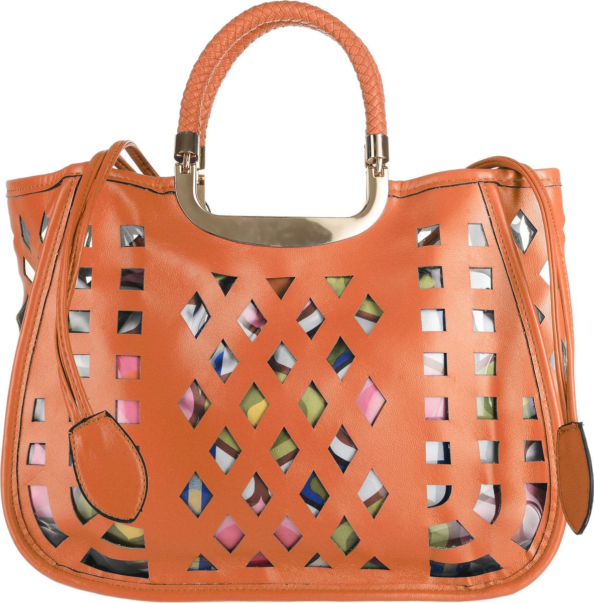 Сумка женская Renee Kler, цвет: оранжевый, мультиколор. RK-08612EQW-M710DB-1A1Сумка Renee Kler выполнена из экокожи снаружи и текстиля внутри. Изделие имеет одно вместительное отделение. Снаружи сумка выполнена в классическом ее виде, с прорезными декоративными отверстиями защищенными с обратной стороны прозрачной плотной плёнкой, а внутри находится текстильный яркий мешок на затягивающихся шнурках из экокожи, который видно через эти прорезные отверстия. Внутри главного отделения - два открытых накладных кармана для мелочей и вшитый карман на застежке-молнии. Сумка оснащена двумя ручками с металлическим основанием и упакована в удобный чехол.