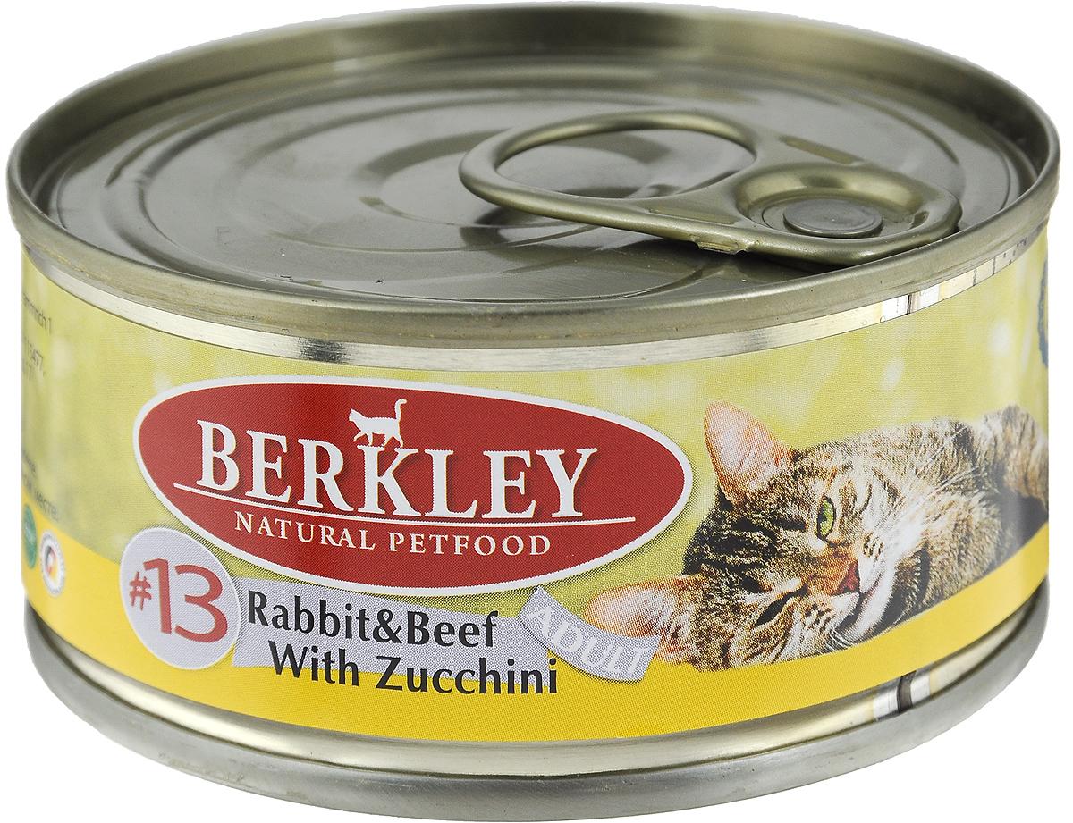 Консервы для кошек Berkley №13, кролик и говядина с цукини, 100 г0120710Berkley №13 - это полноценное консервированное питание для кошек. Содержит нежное мясо кролика и говядины наилучшего качества с добавлением цукини в ароматном бульоне. Консервы приготовлены исключительно из натурального сырья. Не содержат сои, искусственных красителей, ароматизаторов и консервантов.Товар сертифицирован.