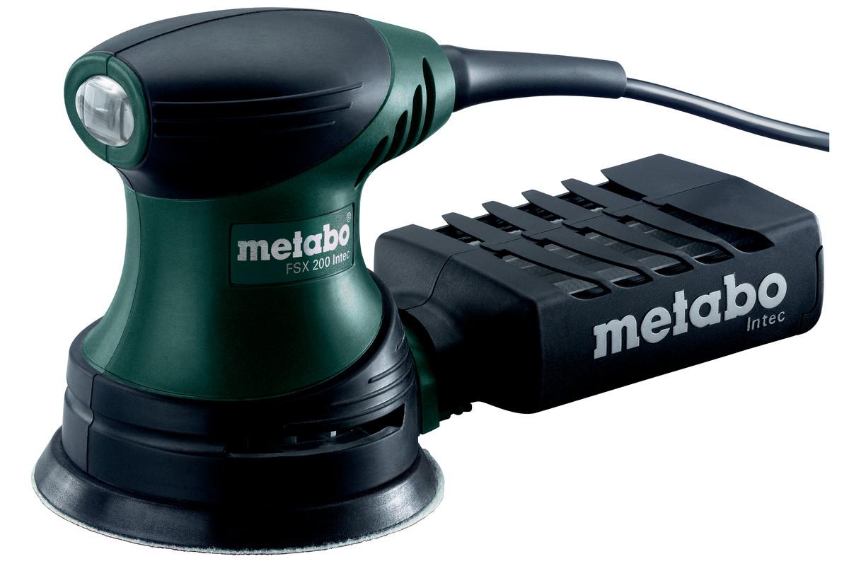 Наладонная шлифовальная машина Metabo FSX 200 Intec, эксцентриковаяWT-AG05Наладонная шлифовальная машина Metabo FSX 200 Intec - легкий и удобный инструмент для работы одной рукой. Удачное соотношение вес и мощность для работы с минимальной утомляемостью. Область возле рукоятки с нескользящей накладкой Softgrip. Пылезащищенные шариковые подшипники для обеспечения долговечности машины. Пылесборная кассета с фильтром для работы без подключения пылесоса. Возможность пылеудаления путем подключения универсального пылесоса с адаптером.Диаметр опорной тарелки: 125 мм.Число оборотов холостого хода: 11000 /мин.Номинальная потребляемая мощность: 240 Вт.Отдаваемая мощность: 90 Вт.Число оборотов при номинальной нагрузке: 9500 /мин.Колебательный контур: 2.7 мм.Вес без сетевого кабеля: 1.3 кг.Длина кабеля: 2.8 м.Вибрация:Шлифование поверхностей: 6.5 м/с2.Погрешность измерения K: 1.5 м/с2.Полировка: 14.5 м/с2.Погрешность измерения K: 1.5 м/с2.Звуковая эмиссия:Уровень звукового давления: 82 дБ(А).Уровень звуковой мощности (LwA): 93 дБ(А).Погрешность измерения K: 3 дБ(А).