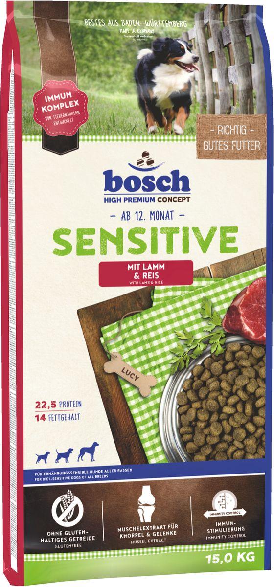 Корм сухой Bosch Sensitive Lamm & Reis для взрослых собак, склонных к аллергии, с ягненком и рисом, 15 кг55200015Сухой корм Bosch Sensitive Lamm & Reis с мясом ягненка и рисом - полноценный сбалансированный рацион для взрослых собак, склонных к аллергии. Благодаря сочетанию риса и мяса ягненка, имеющего низкий аллергенный потенциал, вероятность непереносимости корма у собак сведена к минимуму.Ингредиенты: рис 37.5%, мука из мяса ягненка мин. 20%, ячмень, животный жир, рисовая клейковина, картофельный протеин, свекольная пульпа, цельное яйцо (дегидратированное), льняное семя, гидролизованное мясо, горошек, пищевые волокна (целлюлоза), дрожжи (дегидратированные), поваренная соль, хлорид калия, мука из мидий, экстракт новозеландского зеленогубчатого моллюска (натуральный продукт для поддержания здоровья соединительной ткани и суставов), порошок цикория. Химический состав: протеин - 22,5%; содержание жира - 14,0%; клетчатка - 2,5%; минеральные вещества - 7,0%; вода - 10,0%, экстрактивные вещества, не содержащие азот - 44,0%.Основные добавки на 1 кг корма:Пищевые добавки: витамин А - 12.000 МЕ, витамин Д3 - 1.200 МЕ, витамин Е - 70 мг, медь (в форме сульфата меди (II), пентагидрат) - 10 мг, цинк (в форме окиси цинка) - 70 мг, цинк (в амининокислотной хелатной форме, гидрат) - 75 мг, кобальт (в форме сульфата кобальта (II), гептагидрат) - 0,3 мг, йод (в форме йодида кальция, безводный) - 2 мг, селен (в форме селенита натрия) - 0,2 мг.Дополнительные добавки: экстракты, содержащие токоферолы натурального происхождения.Товар сертифицирован.