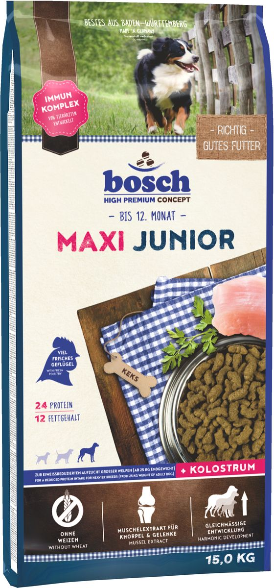 Корм сухой Bosch Junior Maxi для щенков крупных пород, 15 кг0120710Корм сухой Bosch Junior Maxi - полноценный корм для щенков крупных пород и щенков с массивным костяком. Обеспечьте питомца постоянным свободным доступом к свежей воде. Состав: свежее мясо домашней птицы, рис, ячмень, мясо домашней птицы, кукуруза, мука из свежего мяса, животный жир, свекольная пульпа, гидролизованное мясо, рыбная мука, яичный порошок, льняное семя, дрожжи, рыбий жир, поваренная соль, хлорид калия, мука из мидий, цикориевая пудра.Добавки (в 1 кг): Питательные добавки: Витамин А: 15,000 МЕ/кг, Витамин D3: 1,200 МЕ/кг, Витамин Е: 150 мг. Содержание питательных веществ: протеин 24,0%, содержание жира 12,0%, клетчатка 2,5%, минеральные вещества 6,5%, влажность 10,0%. Товар сертифицирован.