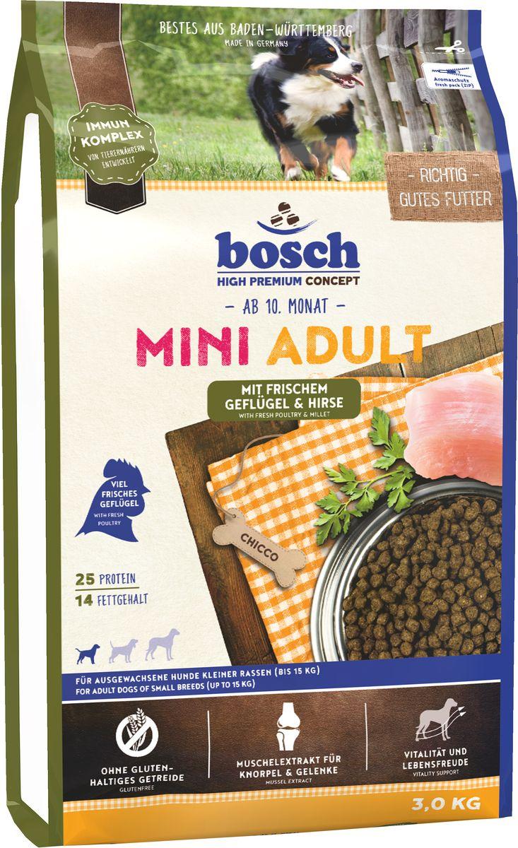 Корм сухой Bosch Mini Adult Geflugel & Hirse для взрослых собак мелких пород, с птицей и просо, 3 кг10104Сбалансированный высококачественный сухой корм Bosch Mini Adult Geflugel & Hirse предназначен для взрослых собак мелких пород, и поэтому гранулы данного корма адаптированы специально под данную весовую категорию. Формула данного корма имеет в составе комплекс пребиотиков и не содержит глютен злаковых. Так как собаки мелких пород более активны, для них требуется более калорийный рацион. Корм Bocsh Mini Adult содержит в себе необходимую пропорцию жира и протеина. Данный корм понравится даже самым взыскательным собакам. Состав: свежее мясо домашней птицы >20%, просо >17%, кукуруза, рис, животный жир, свекольная пульпа (без сахара), яичный порошок, гидролизованное мясо, льняное семя, рыбная мука, мука из свежего мяса, дрожжи (мин. 0,1% маннан-олигосахариды, мин. 0,06% бета-глюкан), рыбий жир, горох, поваренная соль, мука из мидий >0,1%, хлорид калия.Добавки на 1 кг корма: витамин А 12000 МЕ, витамин Д3 1200 МЕ, витамин Е 70 мг, медь (в форме сульфата меди, пентагидрат) 10 мг, цинк (в форме окиси цинка) 70 мг, цинк (цинк в аминокислотной хелатной форме, гидрат) 75 мг, йод (в форме йодида кальция, безводный) 2 мг, селен (в форме селенита натрия) 0,2 мг, антиоксидант.Содержание питательных веществ: протеин 25%, жир 14%, клетчатка 2,5%, минеральные вещества 6%, экстрактивные вещества, не содержащие азот 42,5%.Товар сертифицирован.