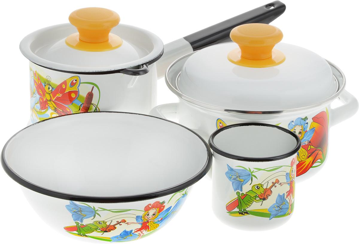 Набор посуды КМК Кокетка, 6 предметов54 009312Набор посуды КМК Кокетка, состоящий из ковша, кастрюли с крышкой, миски и небольшой кружки, изготовлен из высококачественной стали с эмалированным.Эмалевое покрытие, являясь стекольной массой, не вызывает аллергии и надежно защищает пищу от контакта с металлом. Внутренняя поверхность идеально ровная, что значительно облегчает мытье. Покрытие устойчиво к механическому воздействию, не царапаетсяи не сходит, а стальная основа практически не подвержена механической деформации, благодаря чему срок эксплуатации увеличивается. Кастрюля и ковш оснащены крышкой, выполненной из стали с эмалированным покрытием, которая имеет удобную пластиковую ручку.Подходят для всех типов плит, кроме индукционных. Можно мыть в посудомоечной машине.Высота стенки кастрюли: 8,5 см. Диаметр кастрюли (по верхнему краю): 18 см.Объем кастрюль: 1,5 л. Диаметр миски (по верхнему краю): 16 см.Высота стенок миски: 6,5 см. Объем миски: 0,8 л.Диаметр ковша (по верхнему краю): 13 см.Объем ковша: 1 л.Высота стенки ковша: 10,5 см.Длина ручки ковша: 15,5 см.Объем кружки: 0,25 л.Высота стенки кружки: 7 см.Диаметр кружки (по верхнему краю): 7,5 см