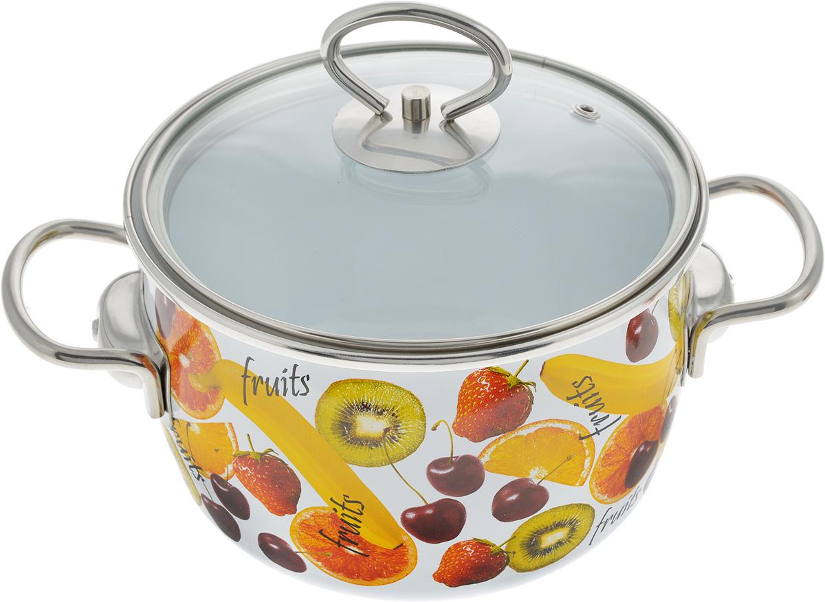 Кастрюля Vitross Fruits с крышкой, 2 л24055Кастрюля Vitross Fruits выполнена из нержавеющей стали с эмалированным покрытием - наиболее безопасным видом покрытий посуды. Прочный стальной корпус обеспечивает эффективную тепловую обработку и не деформируется в процессе эксплуатации. Такая кастрюля идеальна для тепловой обработки и хранения пищевых продуктов, приготовления холодных блюд и сервировки стола. Кастрюля оснащена стеклянной крышкой с металлическим ободом и пароотводом. По бокам кастрюли расположены удобные стальные ручки.Подходит для всех типов плит, включая индукционные. Можно мыть в посудомоечной машине.Диаметр кастрюли (по верхнему краю): 17.5 см.Высота стенок кастрюли: 11 см.Ширина кастрюли с учетом ручек: 26 см.