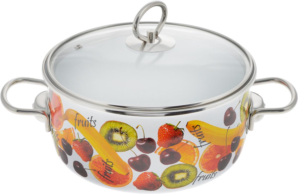 Кастрюля Vitross Fruits с крышкой, 4 л54 009312Кастрюля Vitross Fruits выполнена из нержавеющей стали с эмалированным покрытием - наиболее безопасным видом покрытий посуды. Прочный стальной корпус обеспечивает эффективную тепловую обработку и не деформируется в процессе эксплуатации. Такая кастрюля идеальна для тепловой обработки и хранения пищевых продуктов, приготовления холодных блюд и сервировки стола. Кастрюля оснащена стеклянной крышкой с металлическим ободом и пароотводом. По бокам кастрюли расположены удобные стальные ручки.Подходит для всех типов плит, включая индукционные. Можно мыть в посудомоечной машине.Диаметр кастрюли (по верхнему краю): 21.5 см.Высота стенок кастрюли: 13 см.Ширина кастрюли с учетом ручек: 31 см.