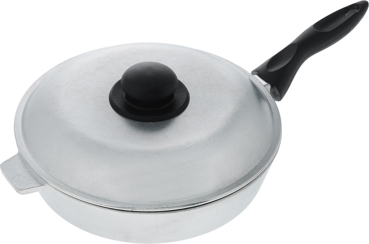Сковорода Алита Хозяюшка с крышкой. Диаметр 24 см68/5/3Сковорода Алита Хозяюшка, изготовленная из литого алюминиевого сплава, прекрасно подходит для приготовления повседневных блюд. Гладкая поверхность обеспечивает легкость ухода за посудой. Изделие оснащено крышкой и удобной пластиковой ручкой, которая не нагревается в процессе готовки.Подходит для газовых и электрических плит.Диаметр сковороды (по верхнему краю): 24 см.Высота стенки: 5,5 см.Длина ручки: 16 см.
