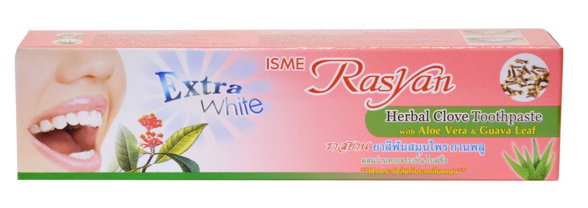 RasYan Травяная зубная паста с гвоздикой, алоэ вера и листьями гуавы, 30 гр.5010777139655Имеет концентрированный состав, состоит из натуральных компонентов, в том числе гвоздичного и касторового масел, камфоры, масла перечной мяты, ментола, борнеола, листьев алоэ вера и гуавы, способствующих устранению налета от кофе, табака, чая и препятствующих появлению зубного камня. Имеет отбеливающие свойства, снижает восприимчивость зубов к перепадам температуры, сохраняет свежесть дыхания в течение длительного времени. Подходит для ежедневногоиспользования, дважды в день. Экономична. Для чистки зубов требуется в количестве 1/10 от обычного объема использования.