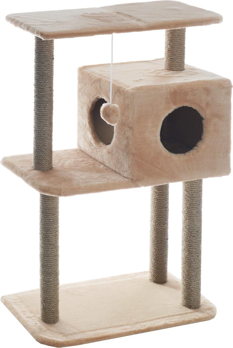 Домик-когтеточка Меридиан, квадратный, трехэтажный, с полкой, цвет: светло-коричневый, бежевый, 65 х 36 х 105 см0120710Домик-когтеточка Меридиан выполнен из высококачественного ДВП и ДСП и обтянут искусственным мехом. Изделие предназначено для кошек. Комплекс имеет 3 яруса. Ваш домашний питомец будет с удовольствием точить когти о специальные столбики, изготовленные из джута. А отдохнуть он сможет либо на полках, либо в расположенном вверху домике. Изделие снабжено подвесной игрушкой. Домик-когтеточка Меридиан принесет пользу не только вашему питомцу, но и вам, так как он сохранит мебель от когтей и шерсти.Общий размер: 65 х 36 х 105 см.Размер домика: 36 х 35 х 32 см.Размер верхней полки: 65 х 31 см.