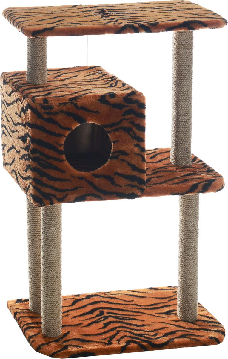 Домик-когтеточка Меридиан, квадратный, трехэтажный, с полкой, цвет: оранжевый, черный, бежевый, 65 х 36 х 105 см0120710Домик-когтеточка Меридиан выполнен из высококачественного ДВП и ДСП и обтянут искусственным мехом. Изделие предназначено для кошек. Комплекс имеет 3 яруса. Ваш домашний питомец будет с удовольствием точить когти о специальные столбики, изготовленные из джута. А отдохнуть он сможет либо на полках, либо в расположенном вверху домике. Изделие снабжено подвесной игрушкой. Домик-когтеточка Меридиан принесет пользу не только вашему питомцу, но и вам, так как он сохранит мебель от когтей и шерсти.Общий размер: 65 х 36 х 105 см.Размер домика: 36 х 35 х 32 см.Размер верхней полки: 65 х 31 см.