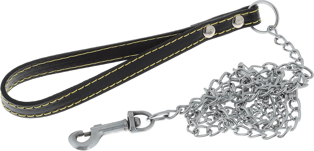 Поводок-цепь для собак Dezzie, цвет: черный, серебристый, толщина 2 мм, длина 120 см5609538Поводок-цепь для собак Dezzie - это удобная и качественная амуниция из хромированной стали. Поводок прост в использовании. Он поможет удерживать энергичного питомца во время прогулки, не навредив при этом его здоровью. Изделие пристегивается к ошейнику с помощью встроенного карабина. Такой поводок смотрится элегантно, идеально подходит для дрессировки и создан так, чтобы не причинить питомцам дискомфорта.Длина поводка: 120 см.Толщина цепи: 2 мм.