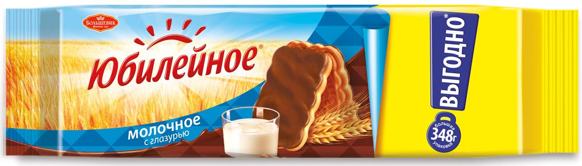 Юбилейное Печенье молочное с глазурью, 348 г0120710Юбилейное — торговая марка сахарного печенья, выпускаемого в России с 1913 года. Любимый вкус знакомый с детства. Оберегая традиции марки Юбилейное, Kraft Foods удалось сохранить и преумножить все лучшее, что заключает в себе этот бренд: печенье содержит натуральные ингредиенты, сохранило высокие стандарты качества и по праву называется лучшим от природы. Для того, чтобы полностью отвечать веяниям времени, в 2015 году была разработана новая более современная упаковка продукта, а также запущена новая коммуникация Юбилейное – твой уголок природы в городе. В результате Юбилейное - все та же самая любимая марка печенья, как и 100 лет назад, которую знают почти 100% населения России.