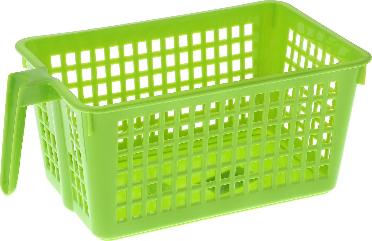 Корзинка универсальная Econova, с ручкой, цвет: зеленый, 28 х 16 х 12 см74-0120Универсальная корзинка Econova изготовлена из высококачественного пластика и предназначена для хранения и транспортировки вещей. Корзинка подойдет как для пищевых продуктов, так и для ванных принадлежностей и различных мелочей. Изделие оснащено ручкой для более удобной транспортировки. Стенки корзинки оформлены перфорацией, что обеспечивает естественную вентиляцию. Универсальная корзинка Econova позволит вам хранить вещи компактно и с удобством.