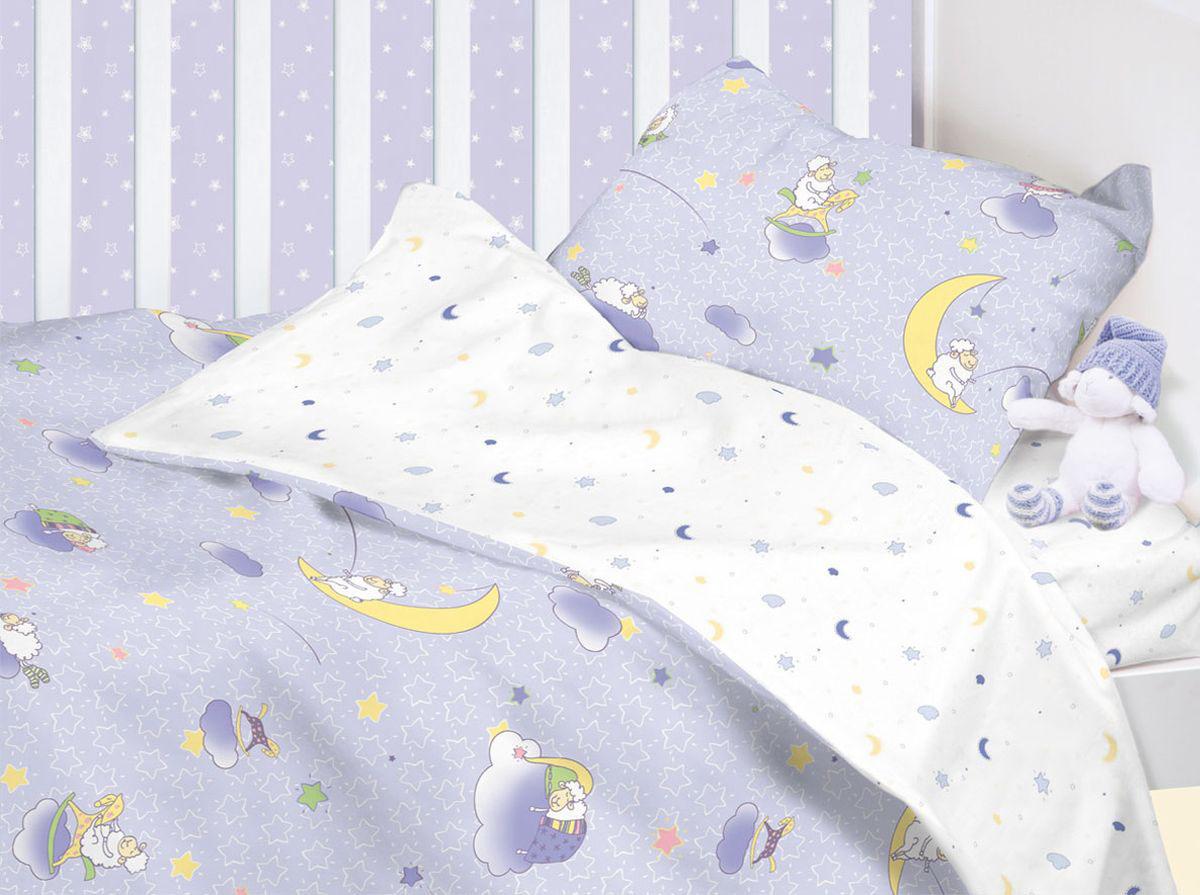 Mirarossi Комплект постельного белья детский Ninna Nanna Blue10р-MR-дКомплект постельного белья Mirarossi Ninna Nanna Blue состоит из наволочки, простыни на резинке и пододеяльника, выполнен из качественного ранфорса, специально для детских кроваток. Комплект детского постельного белья выполнен из натурального 100% хлопка. Хлопок - это натуральный материал, который не раздражает даже самую нежную и чувствительную кожу малыша, не вызывает аллергии и хорошо вентилируется. Такой комплект идеально подойдет для кроватки вашего малыша в яслях. На нем ребенок будет спать здоровым и крепким сном.Цвет комплекта варьируется от светло-голубого до светло-сиреневого.