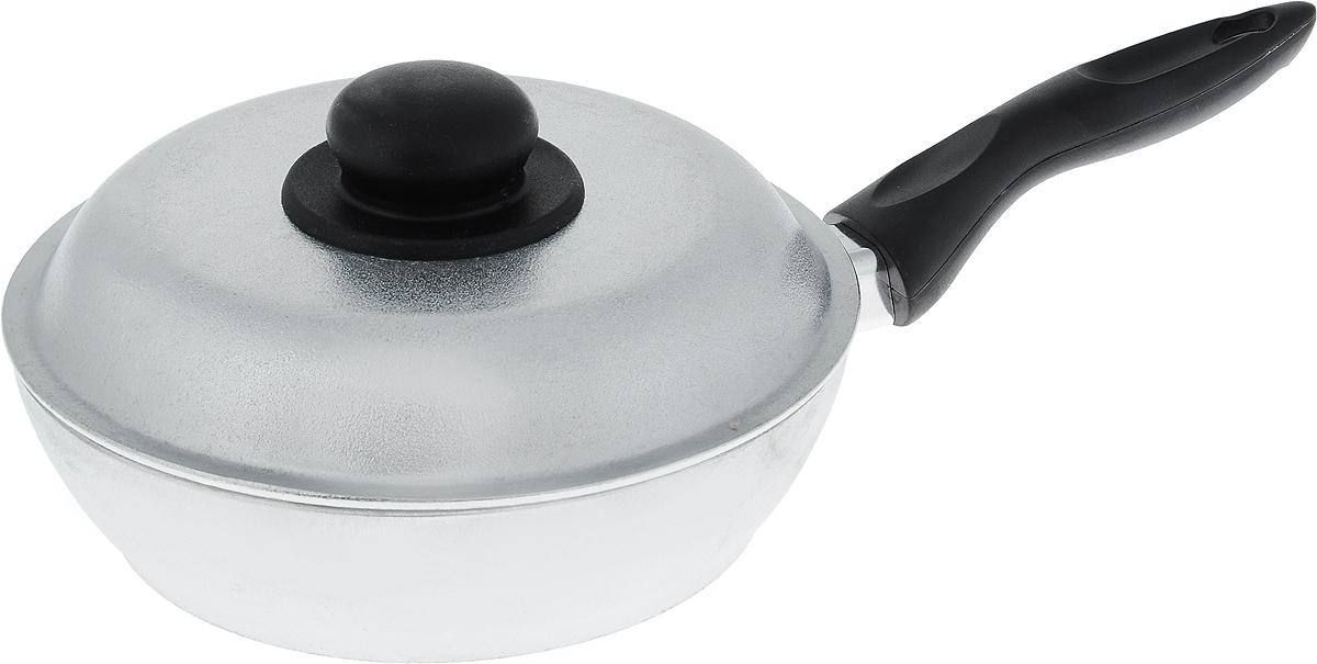 Сковорода Алита Алена с крышкой. Диаметр 20 см94672Сковорода Алита Алена, изготовленная из литого алюминиевого сплава AK5M2П, прекрасно подходит для приготовления повседневных блюд. Гладкая поверхность обеспечивает легкость ухода за посудой. Изделие оснащено крышкой и удобной пластиковой ручкой, которая не нагревается в процессе готовки.Подходит для использования на всех типах плит, кроме индукционных.Диаметр сковороды (по верхнему краю): 20 см.Высота стенки: 5,5 см.Длина ручки: 16 см.
