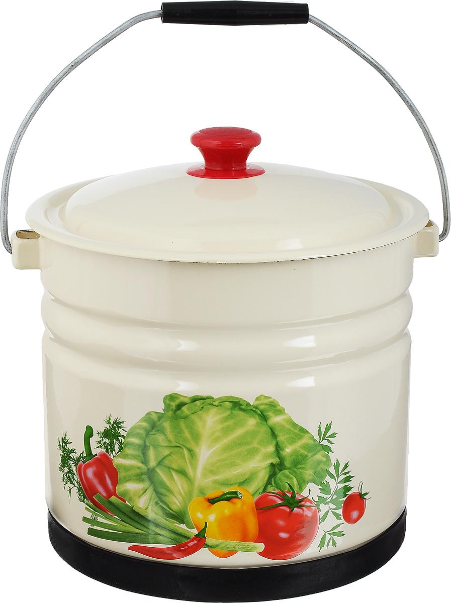 Ведро эмалированное КМК, с крышкой, с поддоном, 10 лSZ-14Ведро КМК изготовлено из высококачественной эмалированной стали и декорировано ярким изображением овощей. Оно предназначено для самых различных бытовых нужд, в том числе для хранения и переноски пищевых продуктов. Ведро оснащено крышкой и удобной ручкой для переноски, также имеет пластиковый поддон, препятствующий отбиванию эмали.Такое ведро станет незаменимым помощником в хозяйстве.Диаметр ведра: 26,5 см.Высота (без учета крышки и поддона): 22 см.Размер поддона: 24,5 х 2 х 24,5 см.