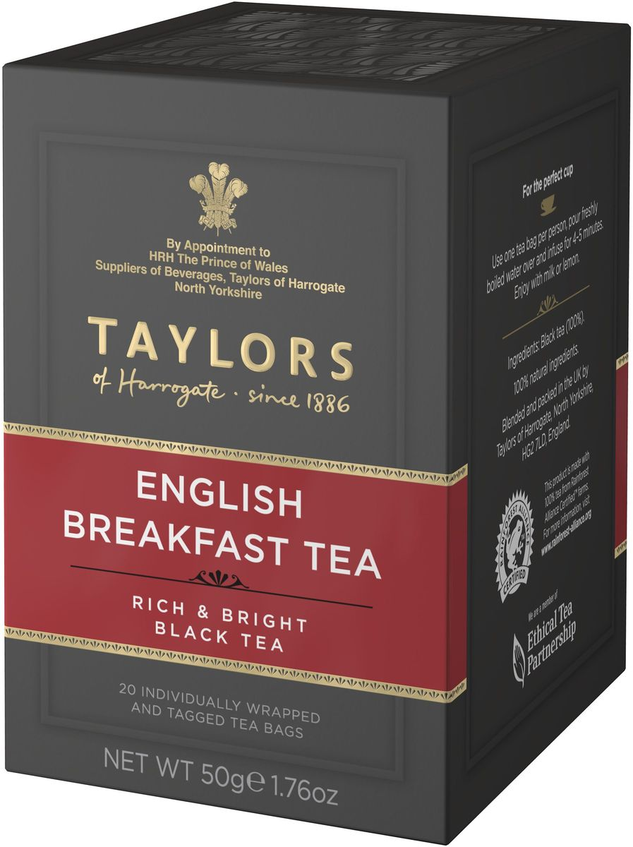Taylors of Harrogate Английский завтрак чай черный байховый в пакетиках, 20 шт00-00000392Бодрящий освежающий чай высочайшего качества, приготовленный по традиционному рецепту. Рецепт изготовления чая Английский завтрак совершенствовался на протяжении долгого времени. Для получения бодрящего чая с глубоким насыщенным цветом мы отбираем лучшие чайные листочки с предгорий Африки и Шри-Ланки. Утонченный аристократический вкус чая Английский завтрак дает представление об истинно Английском чае.Способ приготовления: для приготовления одной чашки восхитительного напитка залейте 1 пакетик чая 180 мл горячей воды 100 С° и настаивайте в течение 4-5 минут. Добавьте молока или лимона по вкусу.