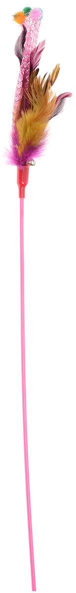 Игрушка для кошек Dezzie Дразнилка, с колокольчиком, цвет: розовый, фиолетовый, желтый, длина 66 см
