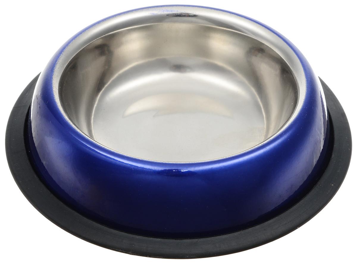 Миска для кошек Dezzie Штиль, цвет: синий, черный, 225 мл0120710Удобная и красивая миска для кошек Dezzie Штиль выполнена из стали и имеет нескользящее резиновое основание. Может использоваться для воды и корма. Миска устойчива и не переворачивается.Стальные миски – самые прочные и надежные. Они никогда не выйдут из моды, так как всегда будут отлично вписываться в любой интерьер дома. Сталь легко мыть, и она не выделяет вредных веществ. Такие миски прослужат долго и не будут скользить по полу во время кормления питомца.Объем миски: 225 мл.