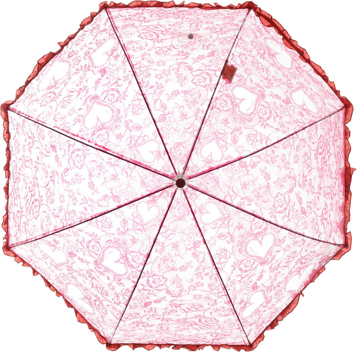 Зонт детский Airton, механический, трость, цвет: прозрачный, красный. 1651-04Колье (короткие одноярусные бусы)Замечательный прозрачный зонтик Airton для юной модницы с рисунком сердечки. Механизм зонта - полуавтомат. Купол зонта изготовлен из прочного ПВХ. Практичная рукоятка закругленной формы разработана с учетом требований эргономики и выполнена из качественного пластика с противоскользящей обработкой. Аксессуар сделан с соблюдением всех стандартов безопасности, острые концы заблокированы специальными клипсами, ручка в форме крюка позволит легко повесить зонт даже на собственную руку.