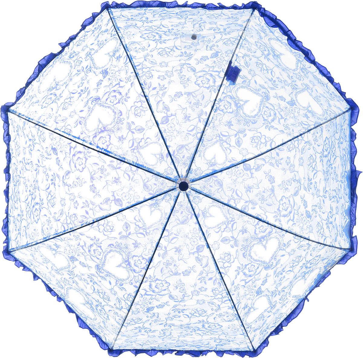 Зонт детский Airton, механический, трость, цвет: прозрачный, синий. 1651-05Колье (короткие одноярусные бусы)Замечательный прозрачный зонтик Airton для юной модницы с рисунком сердечки. Механизм зонта - полуавтомат. Купол зонта изготовлен из прочного ПВХ. Практичная рукоятка закругленной формы разработана с учетом требований эргономики и выполнена из качественного пластика с противоскользящей обработкой. Аксессуар сделан с соблюдением всех стандартов безопасности, острые концы заблокированы специальными клипсами, ручка в форме крюка позволит легко повесить зонт даже на собственную руку.