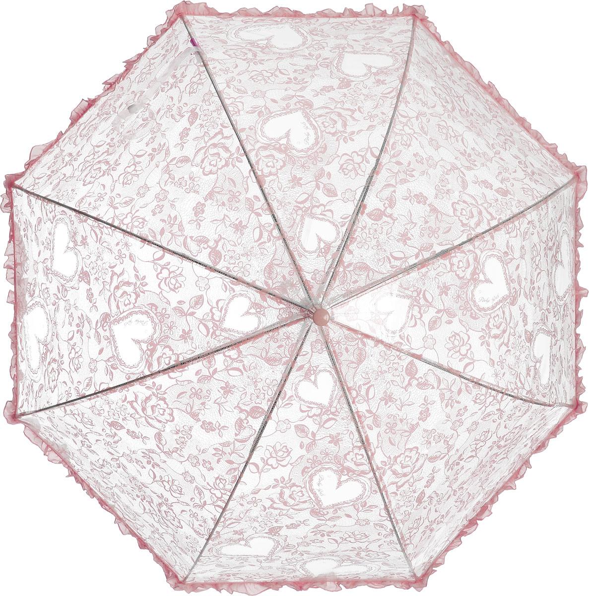 Зонт детский Airton, механический, трость, цвет: прозрачный, розовый. 1651-03CX1516-50-10Замечательный прозрачный зонтик для юной модницы с рисунком Сердечки. Механихм зонта - полуавтомат. Аксессуар сделан с соблюдением всех стандартов безопасности, острые концы заблокированы специальными клипсами, ручка в форме крюка позволит легко повесить зонт даже на собственную руку.