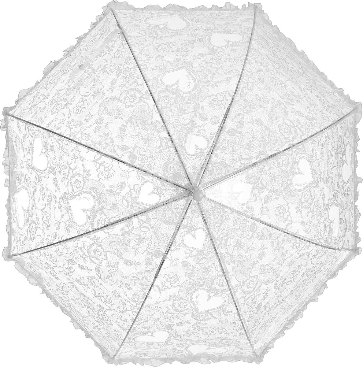 Зонт детский Airton, механический, трость, цвет: прозрачный, белый. 1651-01Колье (короткие одноярусные бусы)Замечательный прозрачный зонтик Airton для юной модницы с рисунком сердечки. Механизм зонта - полуавтомат. Купол зонта изготовлен из прочного ПВХ. Практичная рукоятка закругленной формы разработана с учетом требований эргономики и выполнена из качественного пластика с противоскользящей обработкой. Аксессуар сделан с соблюдением всех стандартов безопасности, острые концы заблокированы специальными клипсами, ручка в форме крюка позволит легко повесить зонт даже на собственную руку.