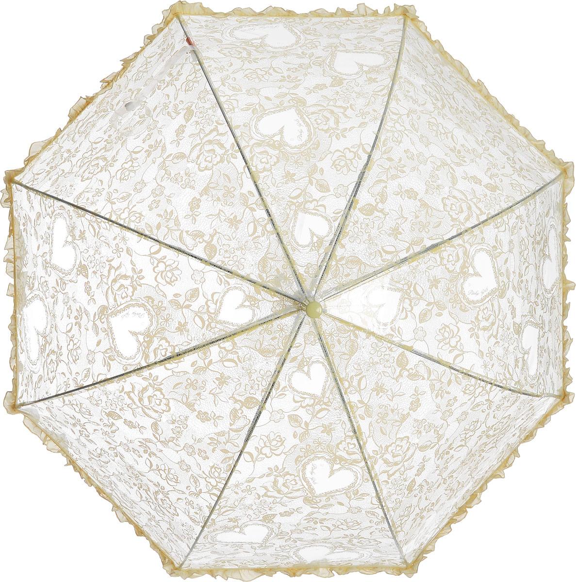 Зонт детский Airton, механический, трость, цвет: прозрачный, желтый. 1651-0245100095/32793/3500NЗамечательный прозрачный зонтик для юной модницы с рисунком Сердечки. Механихм зонта - полуавтомат. Аксессуар сделан с соблюдением всех стандартов безопасности, острые концы заблокированы специальными клипсами, ручка в форме крюка позволит легко повесить зонт даже на собственную руку.