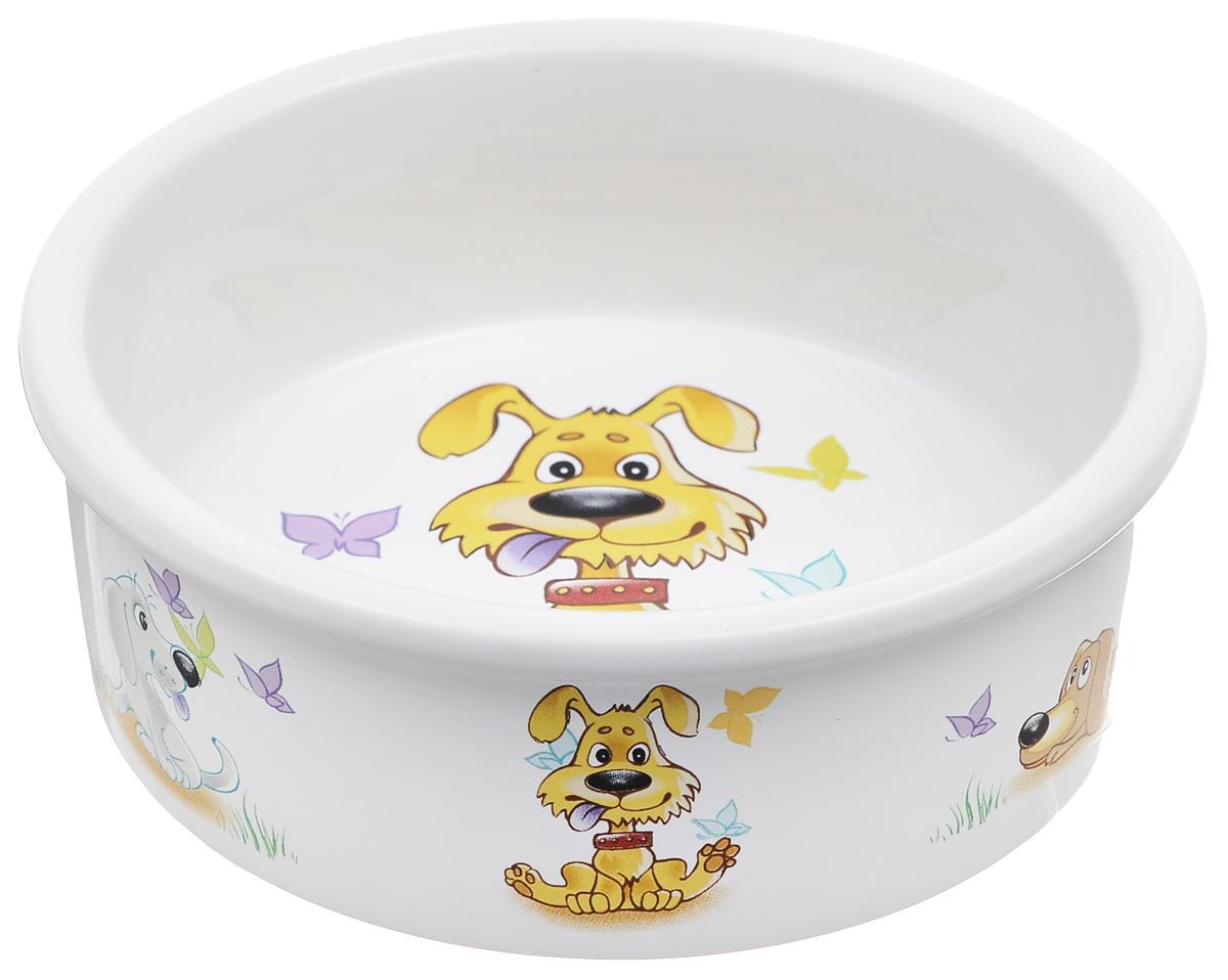 Миска для собак Dezzie Желание, 300 мл0120710Миска для собак Dezzie выполнена из прочной глазурованной керамики. Дно миски и стенки дополнены забавными рисунками. Такая миска отлично подойдет для собак мелких пород. Диаметр: 12 см. Высота стенки: 4,5 см.