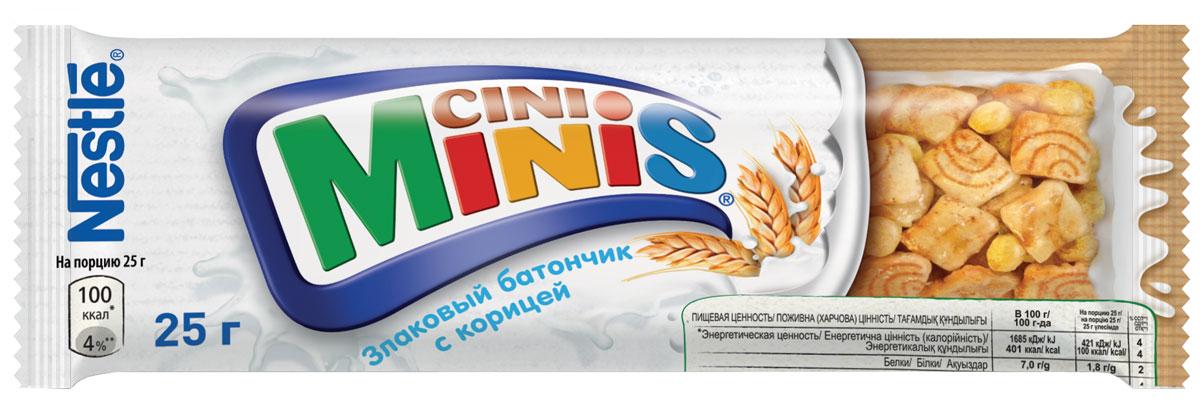 Nestle Cini Minis Злаковый батончик с корицей, 25 г0120710Великолепный вкус корицы и польза цельных злаков. - Необыкновенно вкусные, с натуральной корицей - Содержат цельные злаки- Обогащены витаминами, кальцием и железом