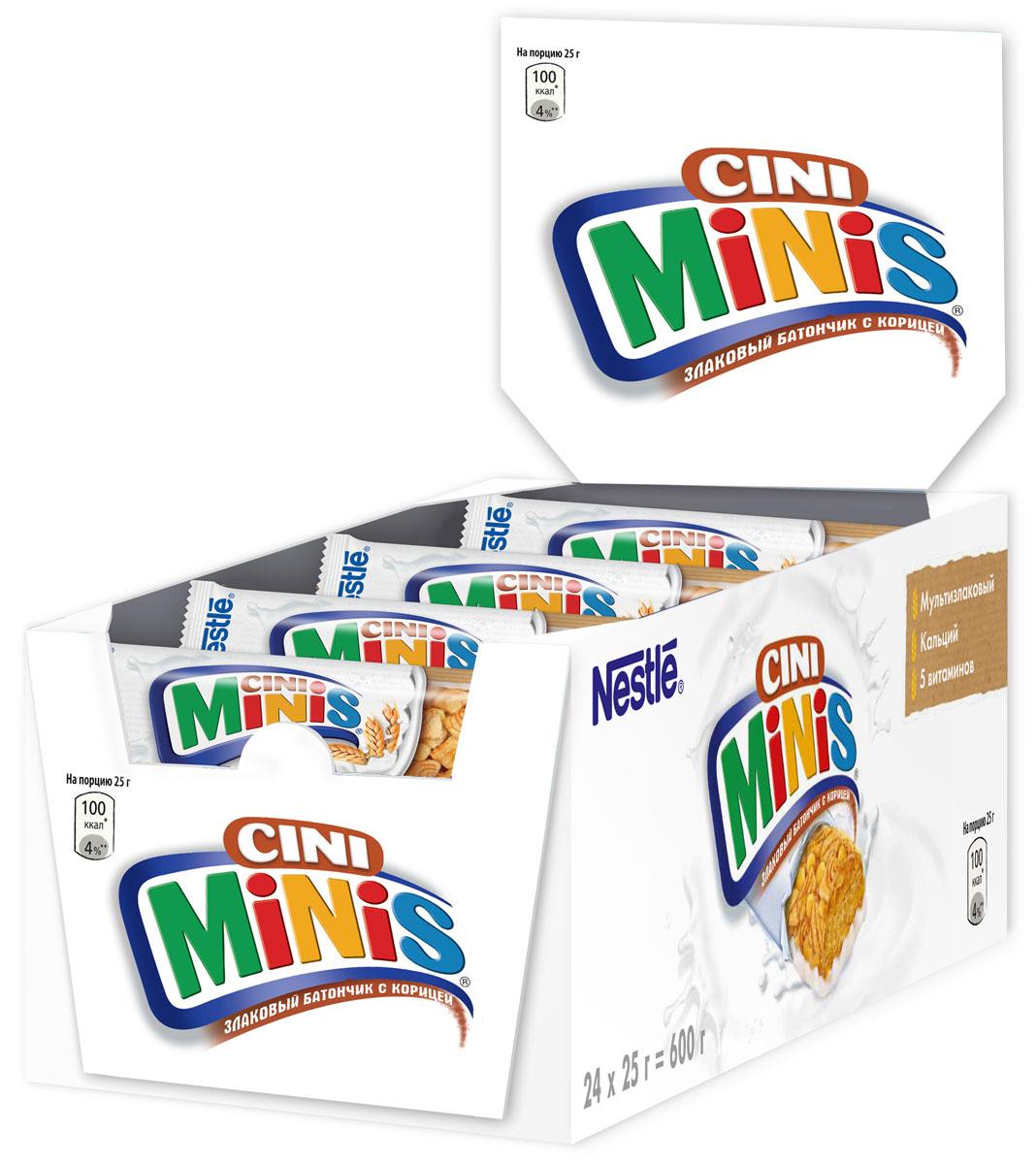 Nestle Cini Minis Злаковый батончик с корицей, 24 шт по 25 г5900020027979Великолепный вкус корицы и польза цельных злаков. - Необыкновенно вкусные, с натуральной корицей - Содержат цельные злаки- Обогащены витаминами, кальцием и железом